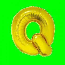 Balon z literą-Q - długość 80 cm - złoto