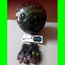balon czarny heppy 5 szt