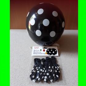 Balon czarny w białe kropki -5 szt