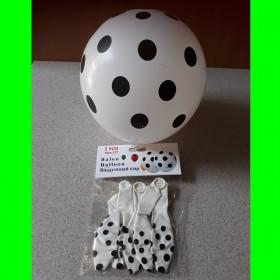 Balony  balon biały w czarne kropki -5 szt