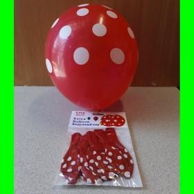 Balon czerwony w białe kropki - 5 sztuk