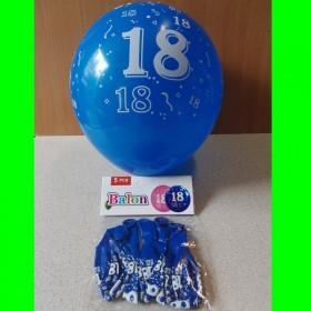 Balony granatowe z cyfrą 18 - 5 szt.