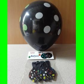 Balon czarny w kolorowe kropki - 5 szt