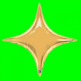 Balon gwiazda czteroramienna złota