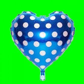 Balon  serce niebieskie -kropki białe