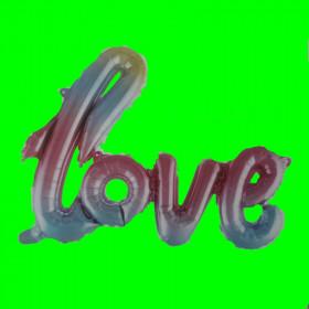 Balon  napis love- tęcza