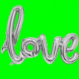 Balon napis -love-srebrny