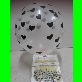 Balon bezbarwny -serca czarne-op 6 szt