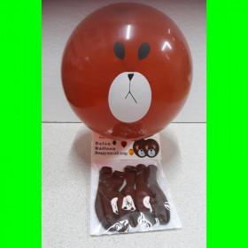 Balon brązowy-misiu-op 5 szt