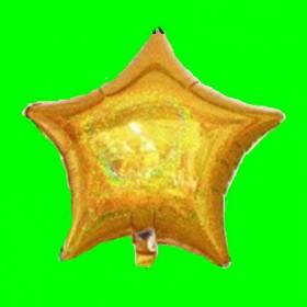 Balon gwiazdka złota -holograficzna -45 cm