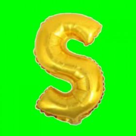 Balon z literą-S - długość 80 cm - złoto