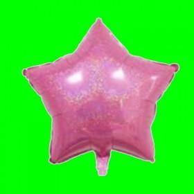 Balon gwiazdka różowa brokat