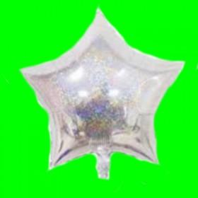Balon gwiazdka srebrna  -holograficzna -efekt brokatu