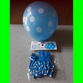 Balon - niebieski w białe kropki- 5 szt