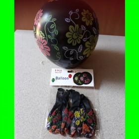 Balon  czarny w kwiatki 5 szt