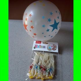 Balon biały  w gwiazdki -5 szt