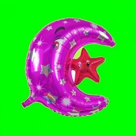 Balon księżyc fiolet  z gwiazdką