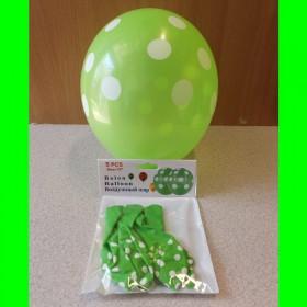 Balon zielony w białe kropki - 5 sztuk