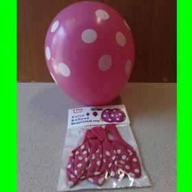 Balon ciemnoróżowy w białe kropki - 5 sztuk