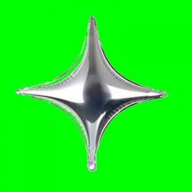Balon gwiazda czteroramienna srebro
