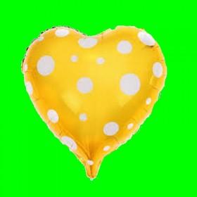 Balon serce złote -białe kropki