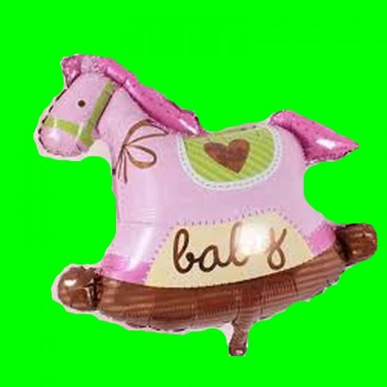Koń na biegunach różowy -90 cm
