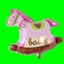 Balon koń na biegunach różowy  90 cm