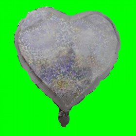 Balon serce srebrne- brokat