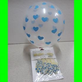 Balon bezbarwny-serca niebieskie-op 6 szt