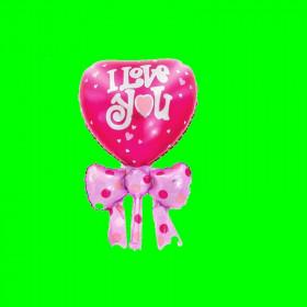 Balon ilowe serce z kokardą