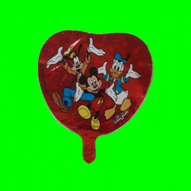 Balon włoski serduszko myszka-donald-pluto