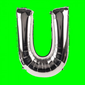 balon-litera-U-srebrny