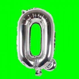 Balon z literą- Q - długość 80 cm Balon srebrny