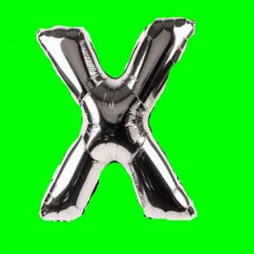 balon-litera-X-srebrna