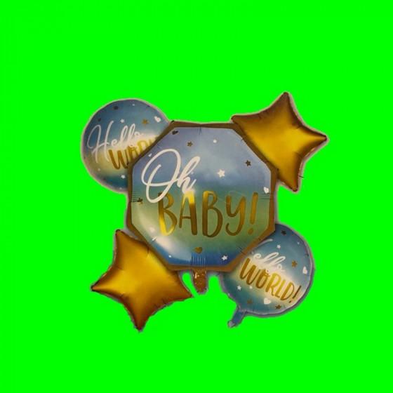Zestaw 5 balonów Oh Baby Niebieski