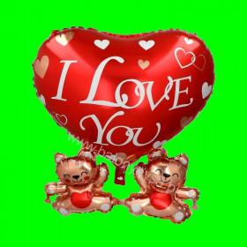 Balon foliowy Serce Love z dwoma misiami