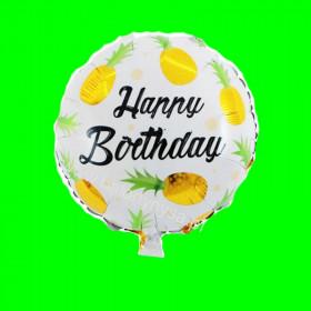 Balon foliowy Happy Birthday Ananas Złoty