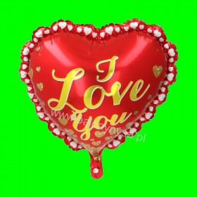 Balon foliowy Serce ze złotym napisem 45 cm