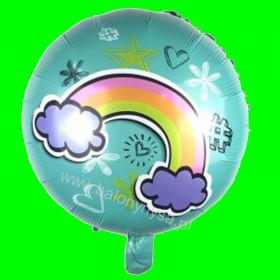 Balon foliowy niebieski z tęczą 45x45cm