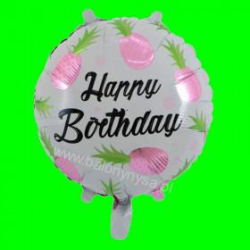 Balon foliowy Happy Birthday Ananas Różowy 45x45