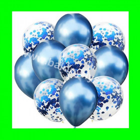 Zestaw balonów z konfetti niebieskim 1op-10szt , 30 cm