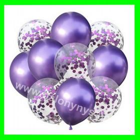 Zestaw balonów z konfetti różowym 1op-10szt , 30 cm