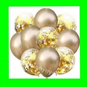 Zestaw balonów z konfetti złotym 1op-10szt , 30cm