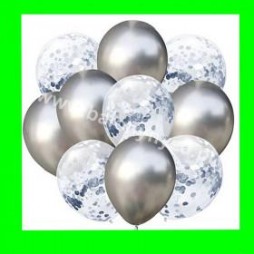 Zestaw balonów z konfetti srebrnym 1op-10szt , 30cm