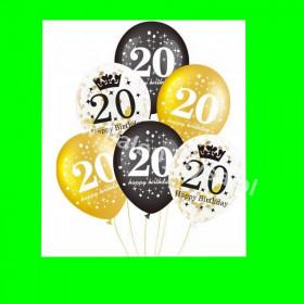 Zestaw balonów z napisem 20 , 1 op - 6 szt ,30 cm