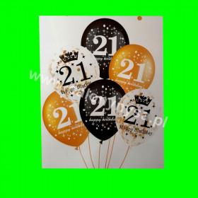 Zestaw balonów z napisem 21 , 1 op - 6 szt , 30 cm