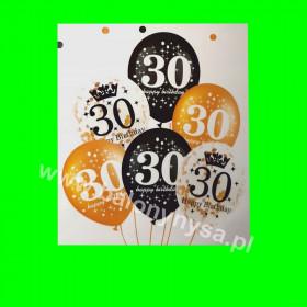 Zestaw balonów z napisem 30 , 1 op - 6 szt , 30 cm