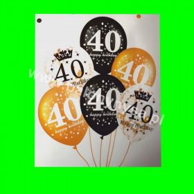 Zestaw balonów z napisem 40 , 1 op - 6 szt , 30 cm