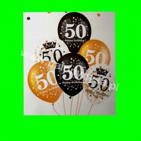 Zestaw balonów z napisem 50 , 1 op - 6 szt ,30 cm