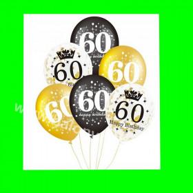 Zestaw balonów z napisem 60 , 1 op - 6 szt , 30 cm